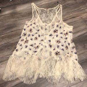 Free People Lacey Floral Print Top